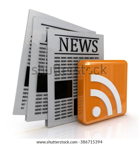 news and rss in the design of information related to communication - stock photo