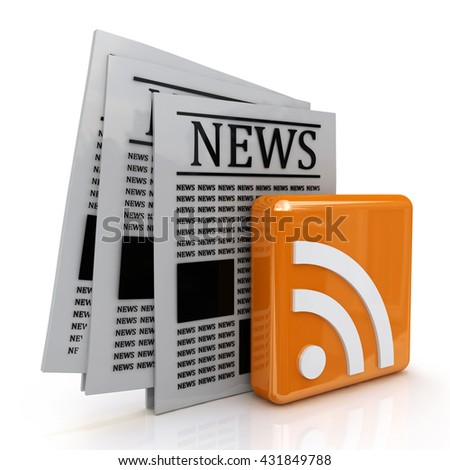 news and rss in the design of information related to communication. 3d illustration - stock photo