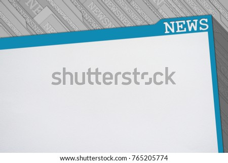 News background, blue frame and white blank paper background for news text. News words on the frame and on gray tabs in background. Flat design template for news.