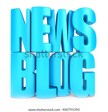News blog 3d text - stock photo