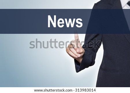 News Business woman pushing hand on virtual screen for e-commerce background - stock photo