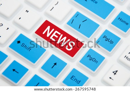 News button on a computer keyboard - stock photo