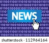 News Button with Hand Cursor. Vector version also available in my portfolio. - stock photo