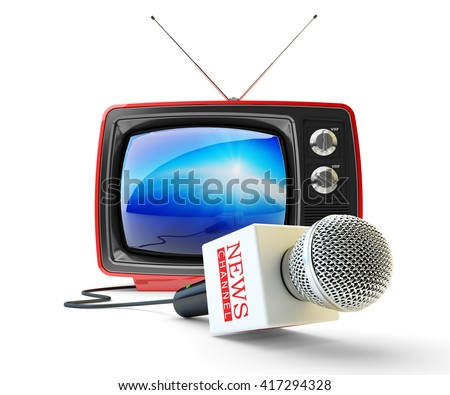 News channel television, mass media broadcasting and internet newscast concept, microphone and red retro tv set receiver isolated on white, 3d illustration - stock photo