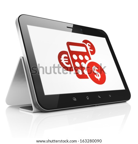 News concept: black tablet pc computer with Calculator icon on display. Modern portable touch pad on White background, 3d render - stock photo