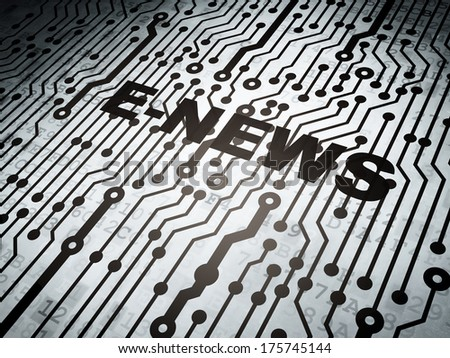News concept: circuit board with  word E-news, 3d render - stock photo