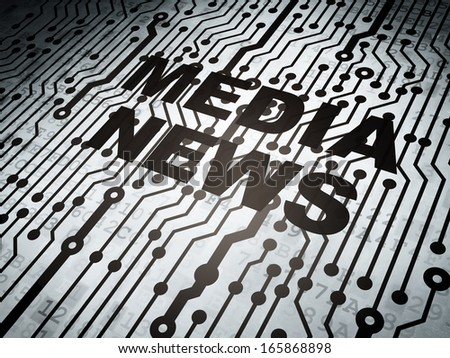 News concept: circuit board with  word Media News, 3d render - stock photo