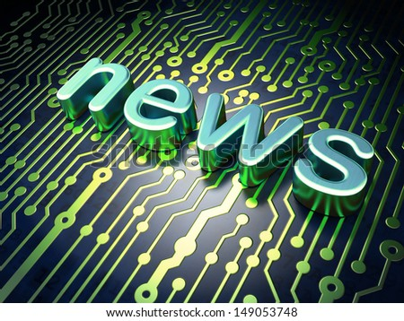 News concept: circuit board with word News, 3d render - stock photo