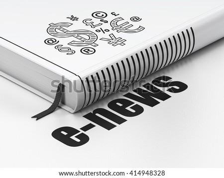 News concept: closed book with Black Finance Symbol icon and text E-news on floor, white background, 3D rendering - stock photo