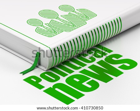 News concept: closed book with Green Business People icon and text Political News on floor, white background, 3D rendering - stock photo