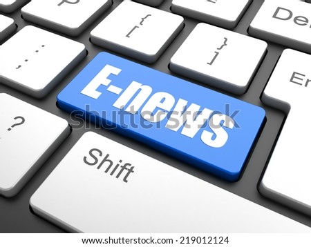 News concept: computer keyboard with word E-news, selected focus on enter button background, 3d render - stock photo