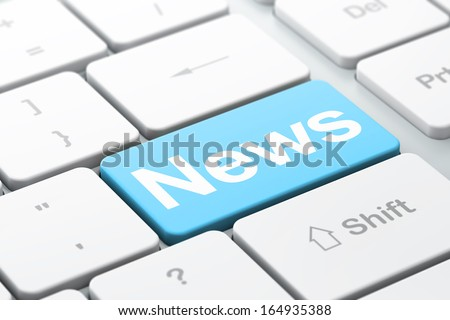 News concept: computer keyboard with word News, selected focus on enter button background, 3d render