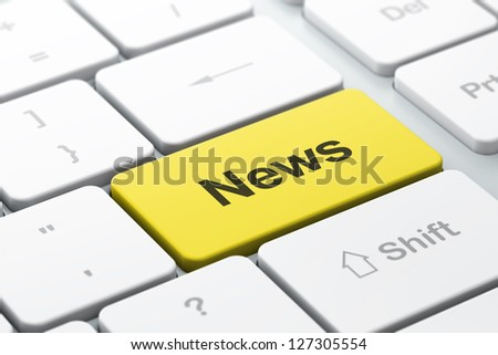 News concept: computer keyboard with word News, selected focus on enter button, 3d render - stock photo