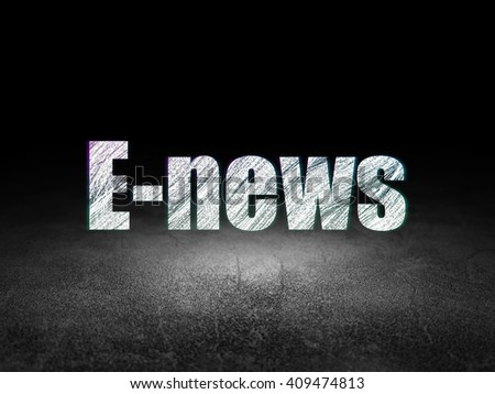 News concept: Glowing text E-news in grunge dark room with Dirty Floor, black background