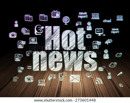 News concept: Glowing text Hot News,  Hand Drawn News Icons in grunge dark room with Wooden Floor, black background, 3d render - stock photo