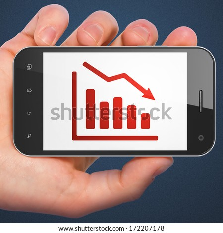 News concept: hand holding smartphone with Decline Graph on display. Mobile smart phone on Blue background, 3d render