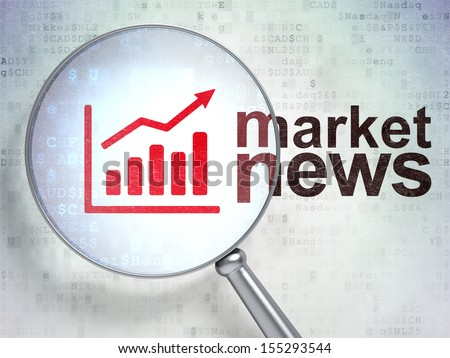 News concept: magnifying optical glass with Growth Graph icon and Market News word on digital background, 3d render - stock photo