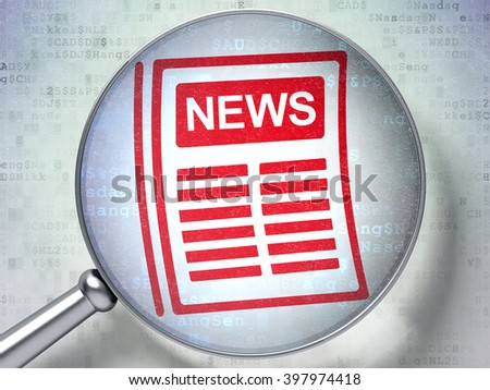 News concept: magnifying optical glass with Newspaper icon on digital background, 3d rendering - stock photo