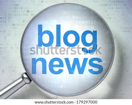 News concept: magnifying optical glass with words Blog News on digital background, 3d render - stock photo