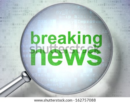 News concept: magnifying optical glass with words Breaking News on digital background, 3d render - stock photo