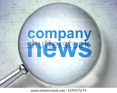 News concept: magnifying optical glass with words Company News on digital background, 3d render - stock photo