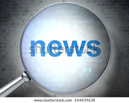 News concept: magnifying optical glass with words News on digital background, 3d render - stock photo