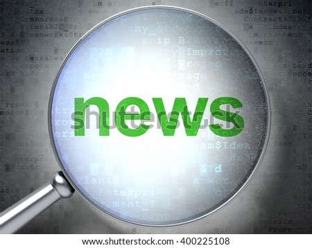 News concept: magnifying optical glass with words News on digital background, 3D rendering - stock photo