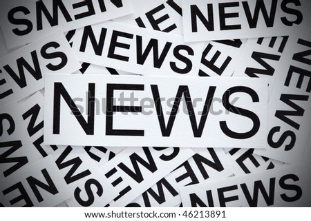 News concept. Many paper labels with the word NEWS on them with vignetting effect, - stock photo