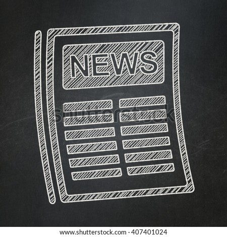 News concept: Newspaper icon on Black chalkboard background - stock photo