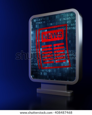 News concept: Newspaper on advertising billboard background, 3D rendering - stock photo