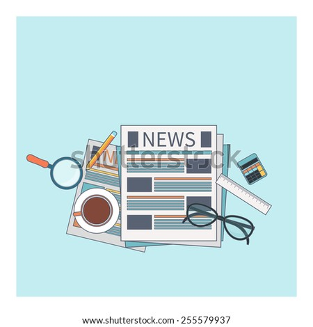 News concept. Newspaper with magnifying glass, glasess, cup of tea and calculator in flat design. Raster version