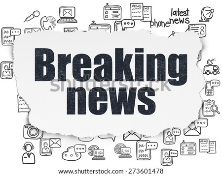 News concept: Painted black text Breaking News on Torn Paper background with  Hand Drawn News Icons, 3d render - stock photo