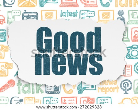 News concept: Painted blue text Good News on Torn Paper background with  Hand Drawn News Icons, 3d render - stock photo