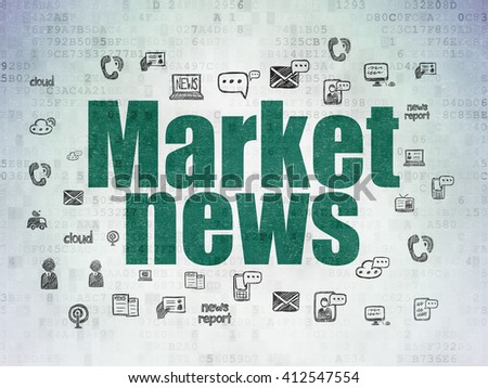 News concept: Painted green text Market News on Digital Data Paper background with  Hand Drawn News Icons