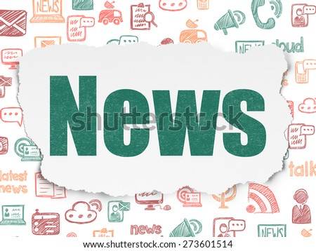 News concept: Painted green text News on Torn Paper background with  Hand Drawn News Icons, 3d render - stock photo