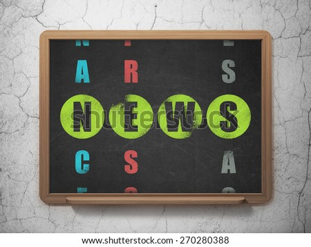 News concept: Painted green word News in solving Crossword Puzzle on School Board background, 3d render - stock photo