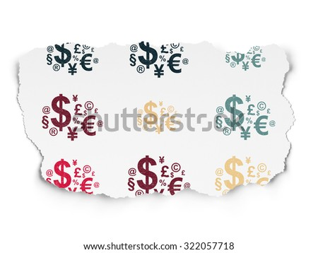 News concept: Painted multicolor Finance Symbol icons on Torn Paper background