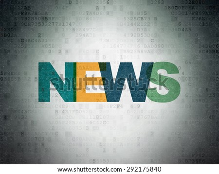 News concept: Painted multicolor text News on Digital Paper background, 3d render - stock photo