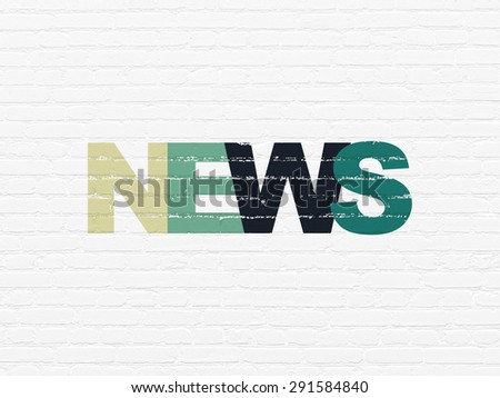 News concept: Painted multicolor text News on White Brick wall background, 3d render - stock photo