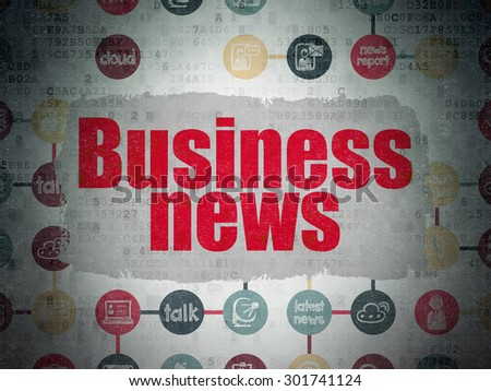 News concept: Painted red text Business News on Digital Paper background with  Scheme Of Hand Drawn News Icons, 3d render - stock photo