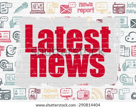 News concept: Painted red text Latest News on White Brick wall background with  Hand Drawn News Icons, 3d render - stock photo