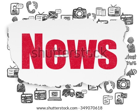 News concept: Painted red text News on Torn Paper background with  Hand Drawn News Icons - stock photo