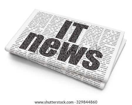 News concept: Pixelated black text IT News on Newspaper background - stock photo