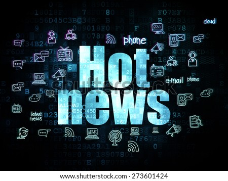 News concept: Pixelated blue text Hot News on Digital background with  Hand Drawn News Icons, 3d render - stock photo