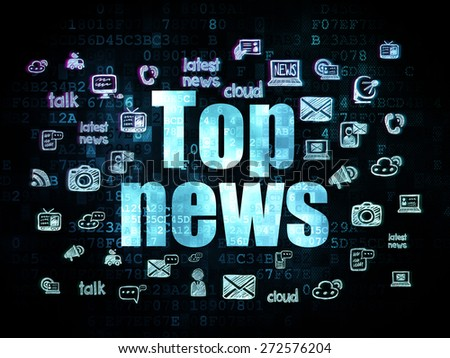 News concept: Pixelated blue text Top News on Digital background with  Hand Drawn News Icons, 3d render - stock photo