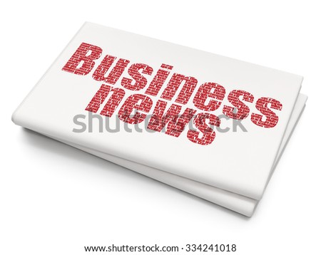 News concept: Pixelated red text Business News on Blank Newspaper background - stock photo