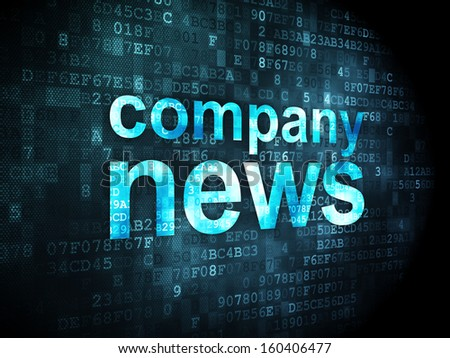 News concept: pixelated words Company News on digital background, 3d render