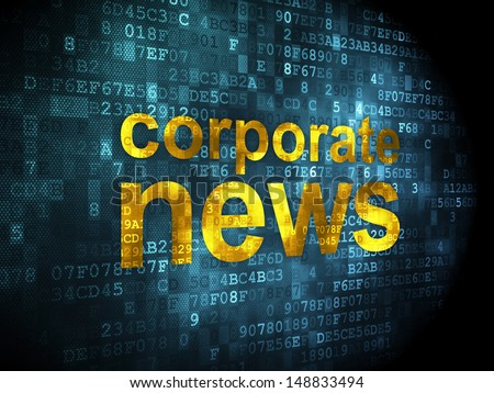 News concept: pixelated words Corporate News on digital background, 3d render