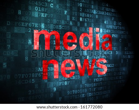 News concept: pixelated words Media News on digital background, 3d render - stock photo