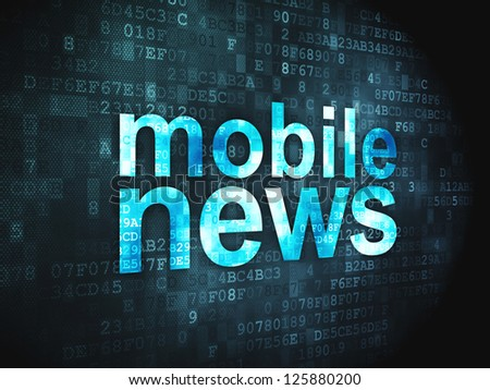 News concept: pixelated words Mobile News on digital background, 3d render